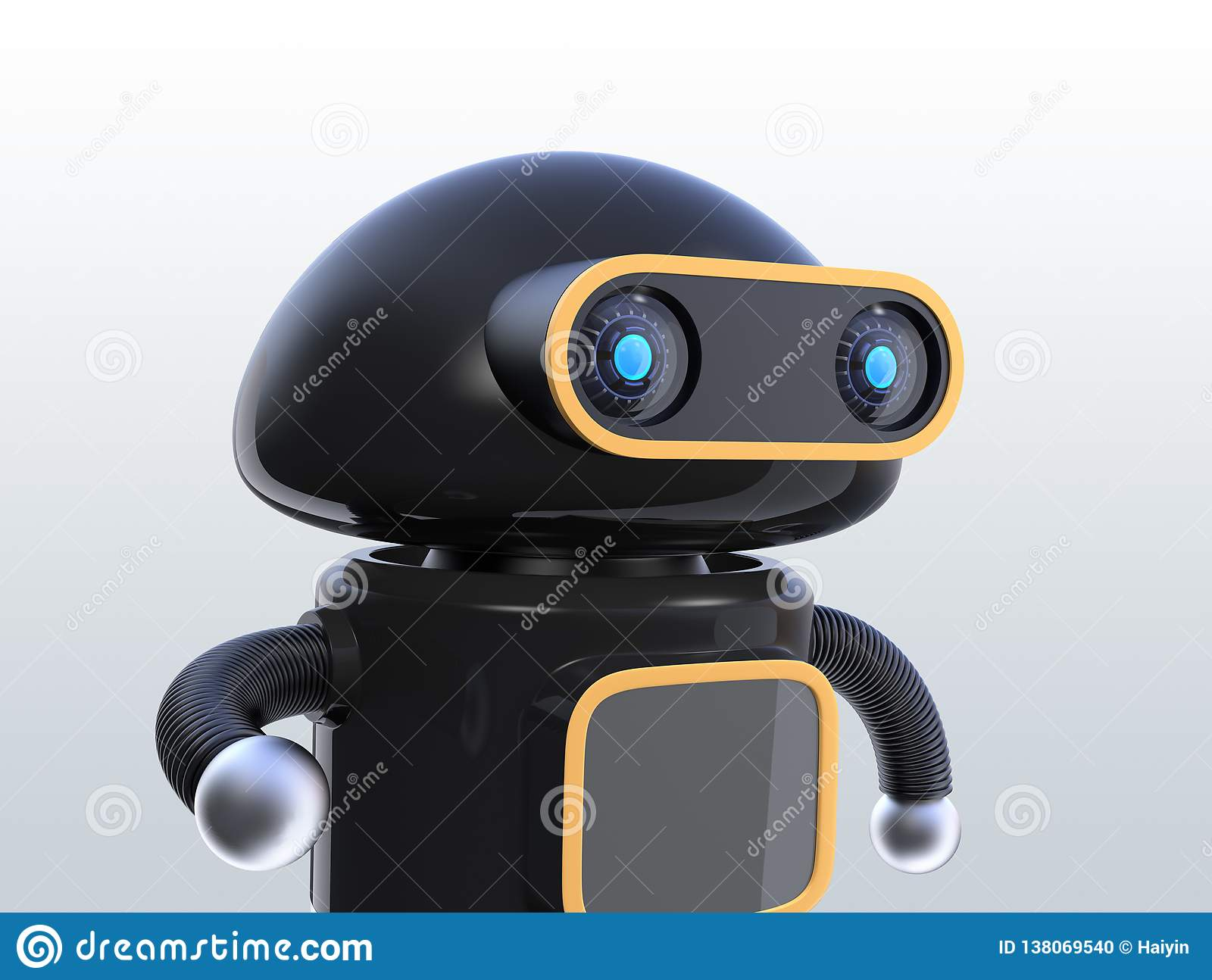 173487f1056 Close up view of black robot looking straight ahead on gray background
