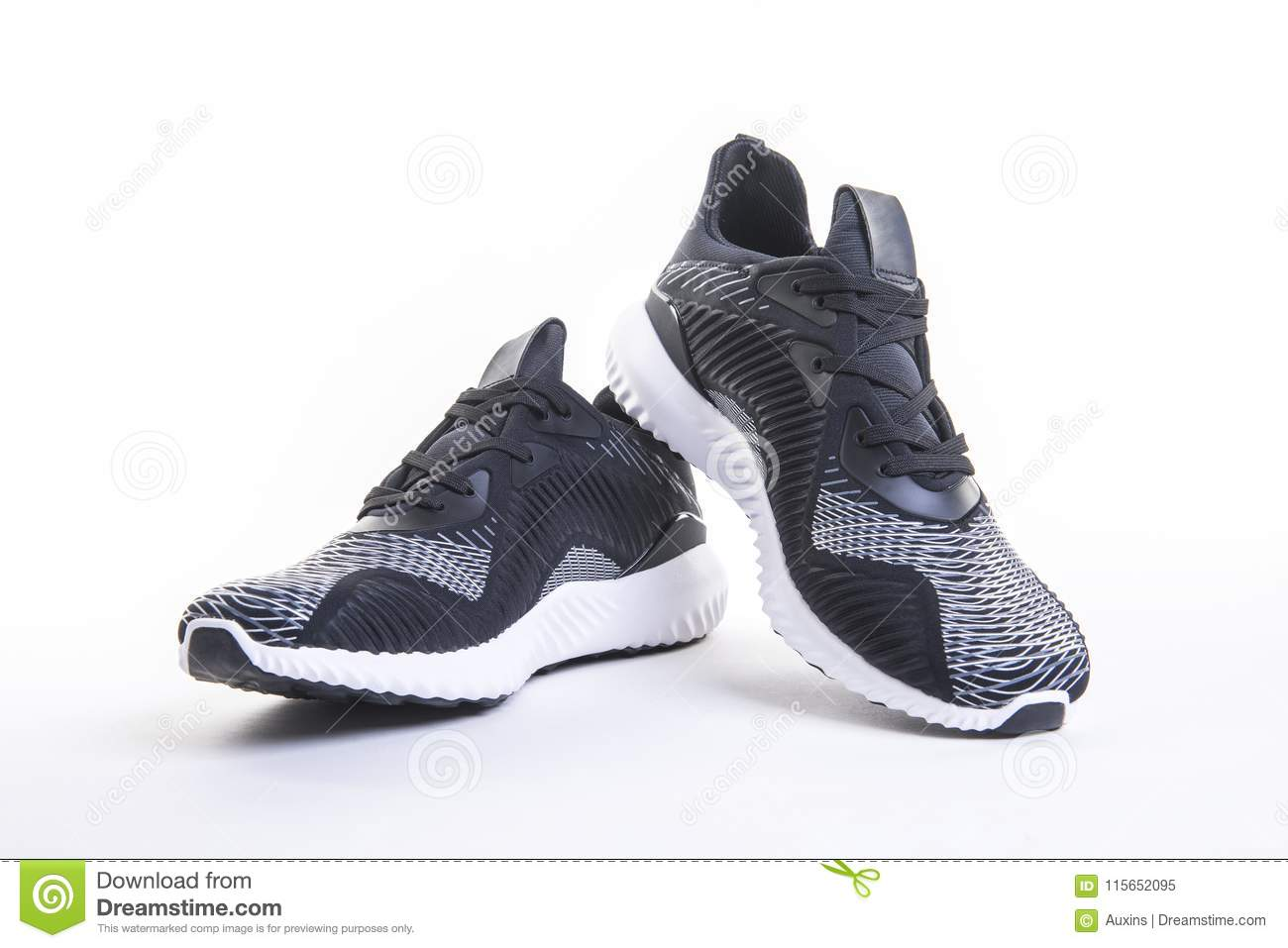 Close up view of black sport running and fitness shoe, sneakers