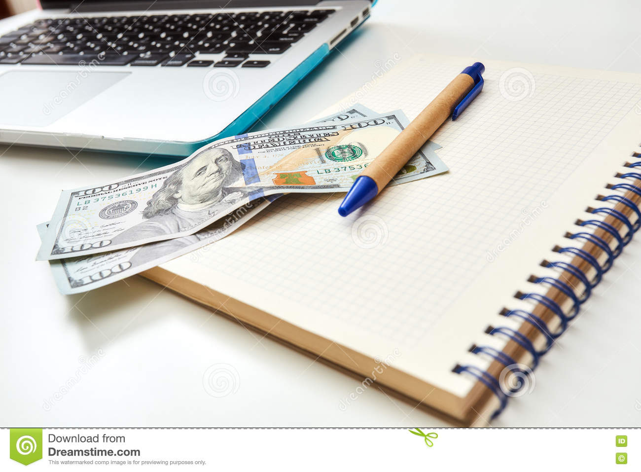 Close Up View Of Business Workspace In Home Or Office Stock Photo ...