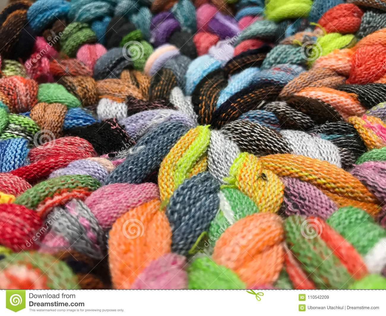 Close up view of colorful handmade woven rug, background and tex