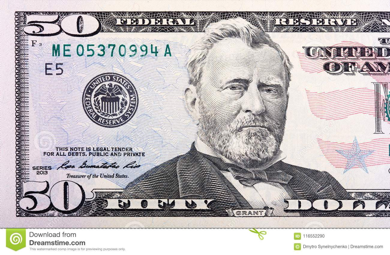 Close-up view of a 50 dollar United States treasury bill.