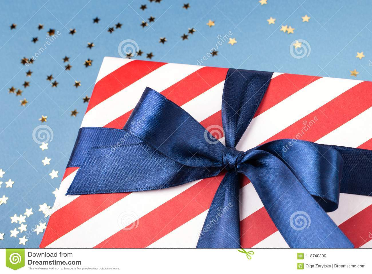 Close up view on gift box.