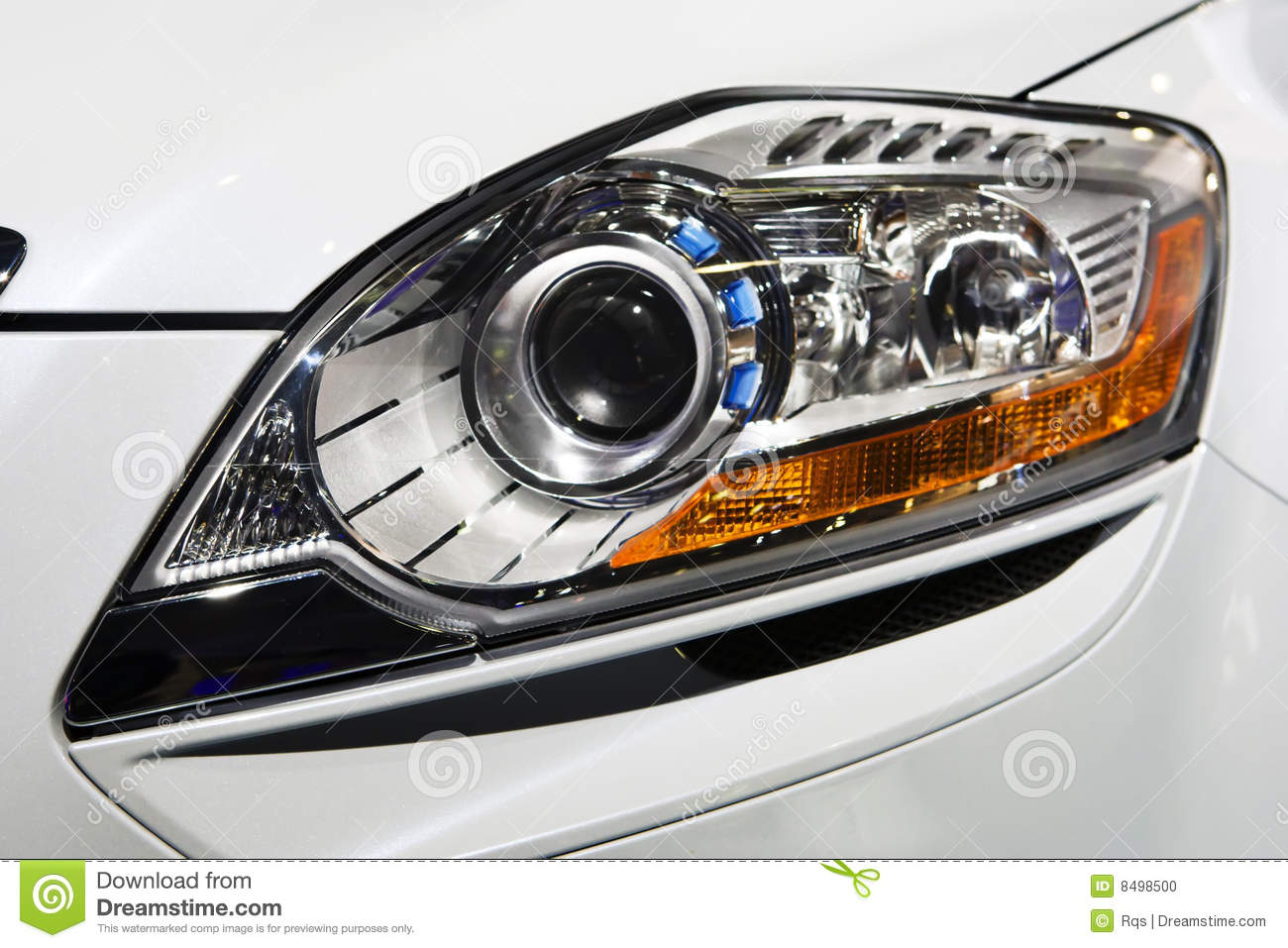 Close Up View Of Headlight White Car Stock Photo Image Of