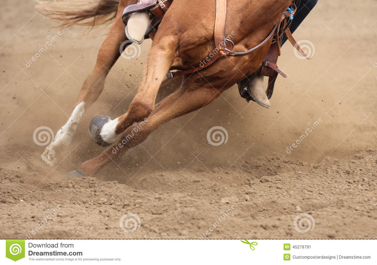 A close up view of a horse moving fast.