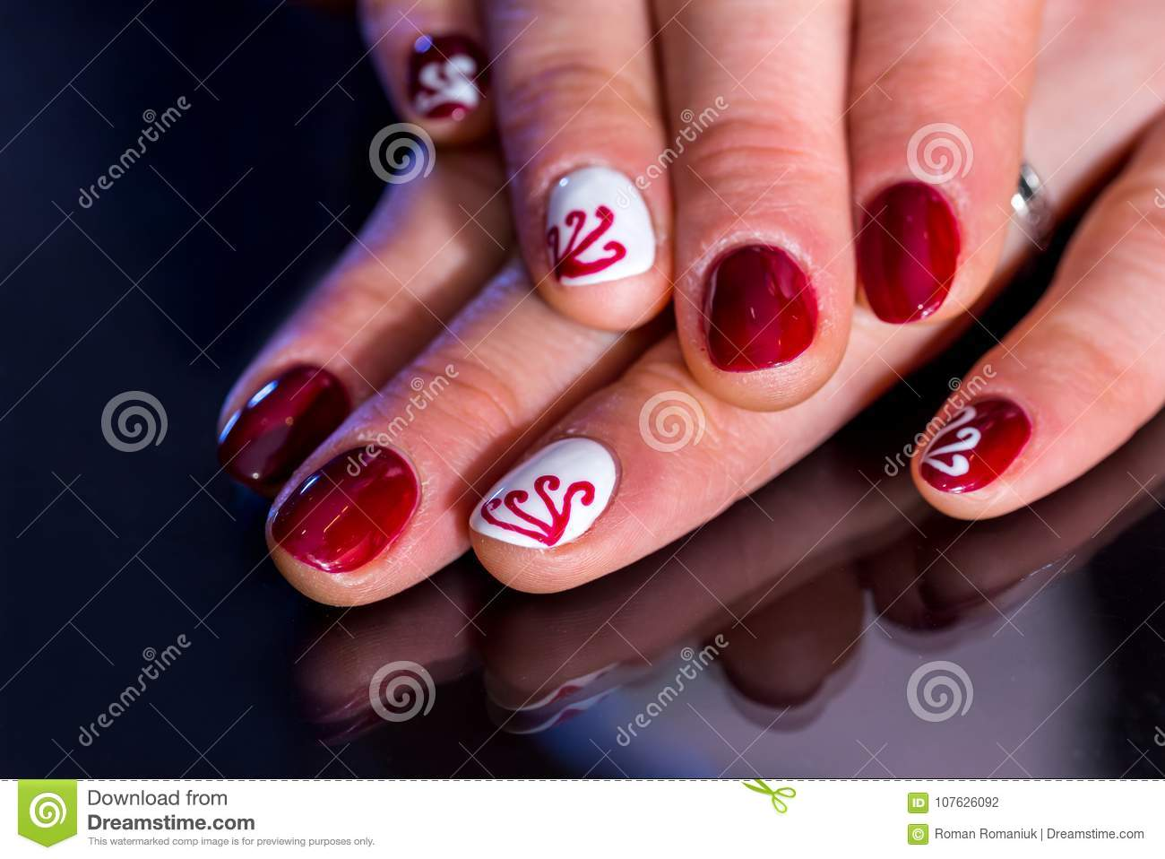 View Of Lady Hands With Beautiful Dark Cherry Manicure. Stock Photo ...