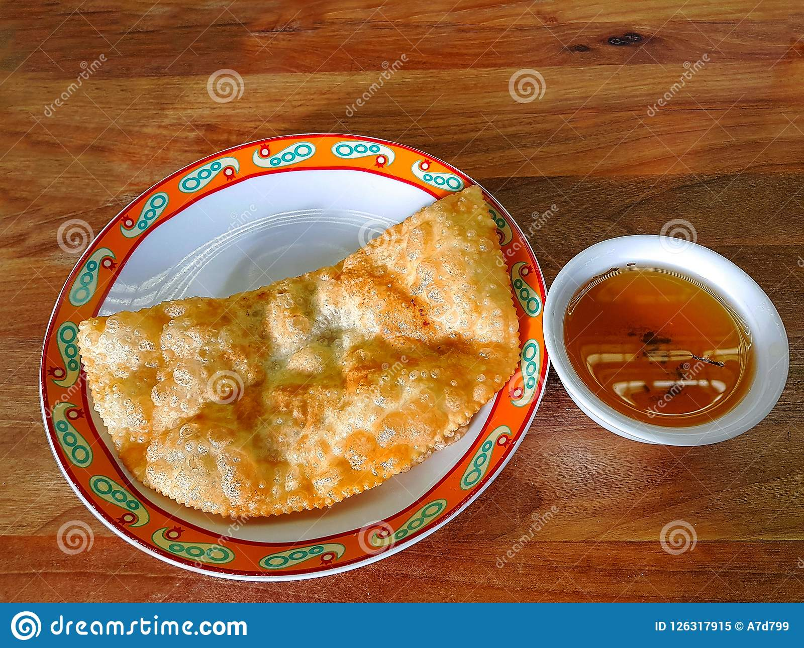 Close Up View Of One Of Traditional Uzbekistan Food And Green Tea On