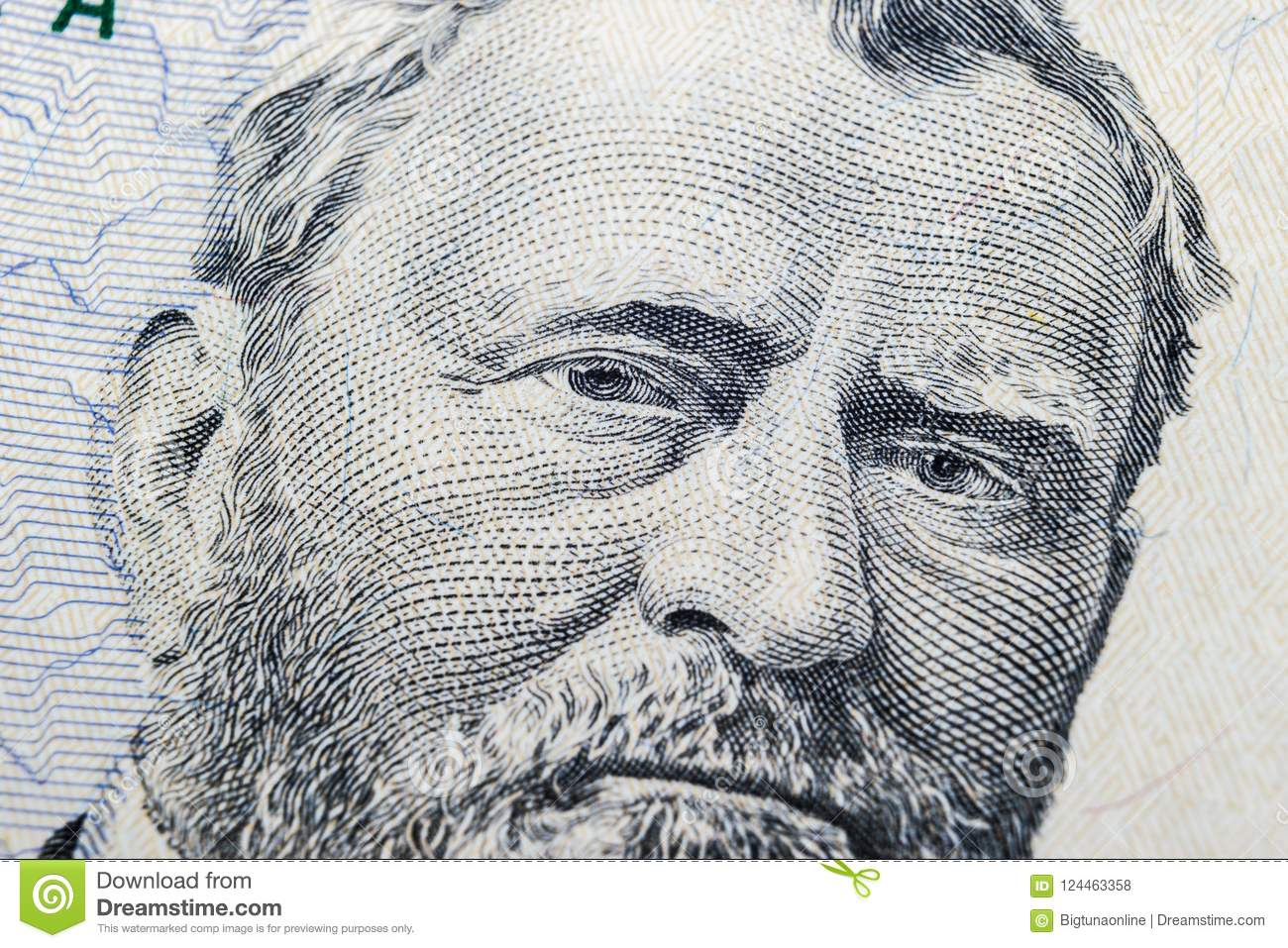 Close up view Portrait of Ulysses S. Grant on the one fifty dollar bill. Background of the money. 50 dollar bill with Ulysses S. G