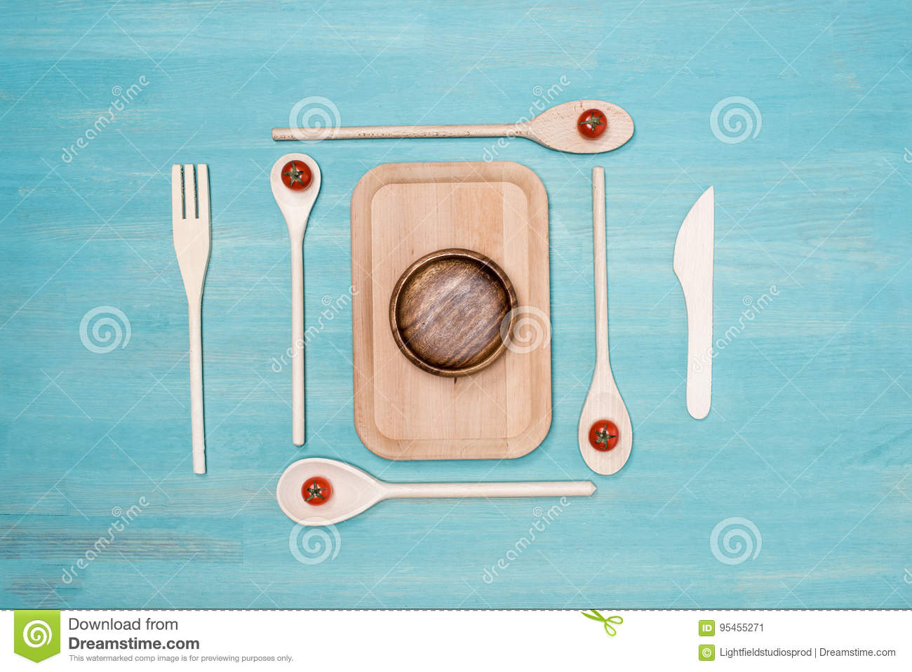 Close-up View Of Set Of Various Wooden Cooking Utensils Stock Image ...
