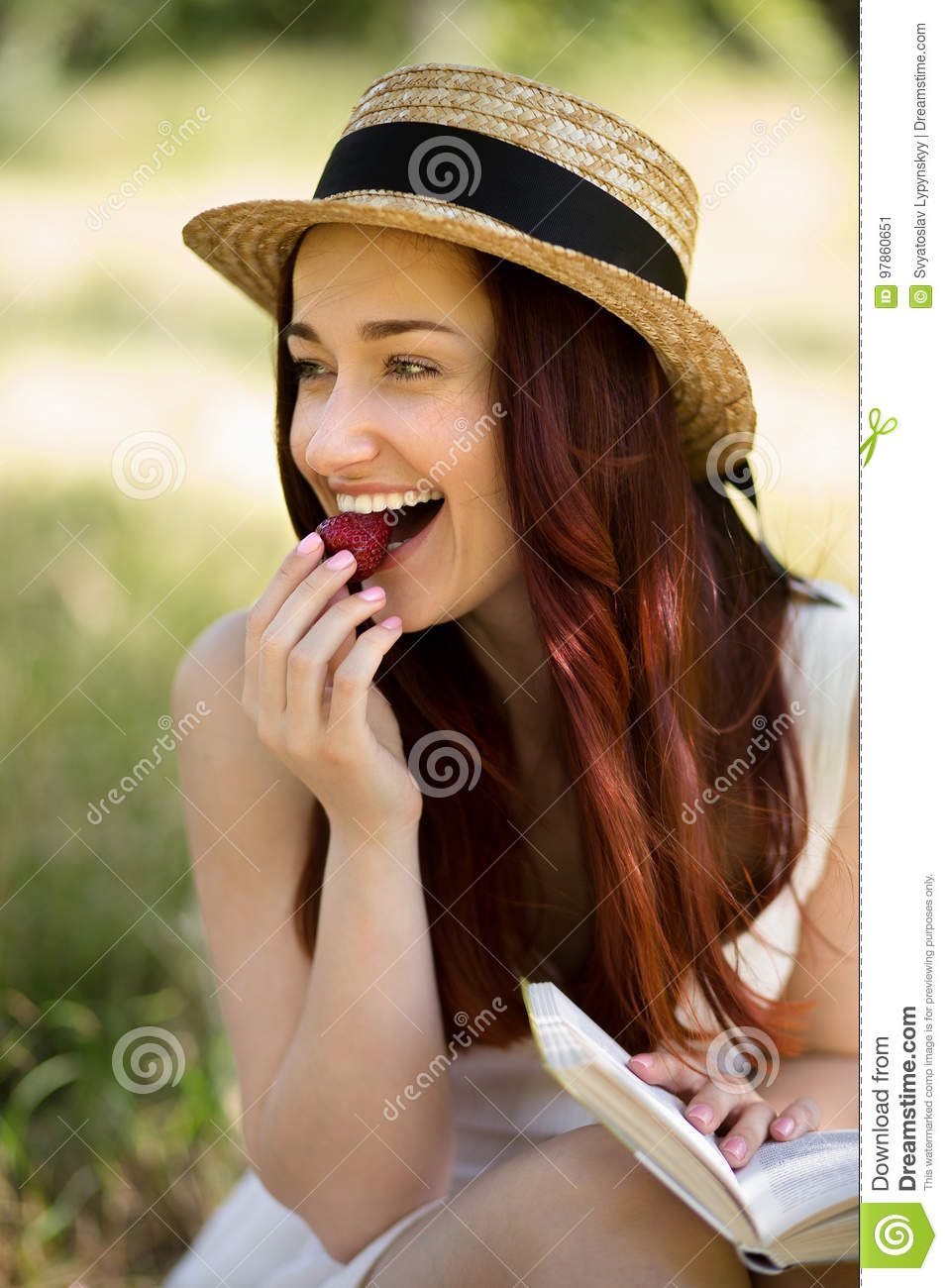Close Up View Of Young Woman In Garden. Stock Image - Image of ...