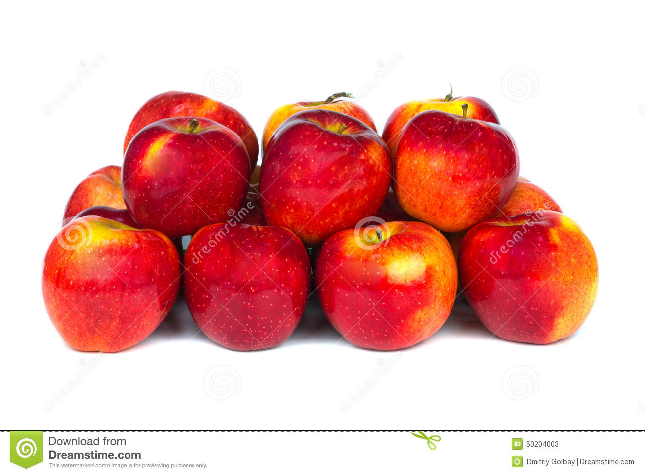 Close up view of some red apples