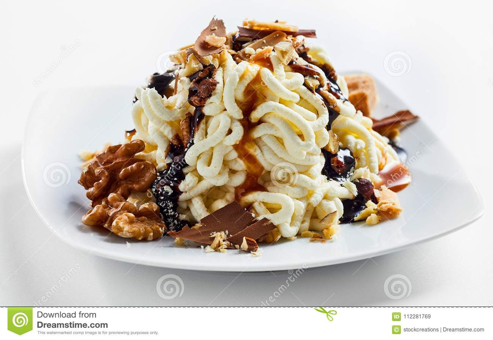 spaghetti creme dessert