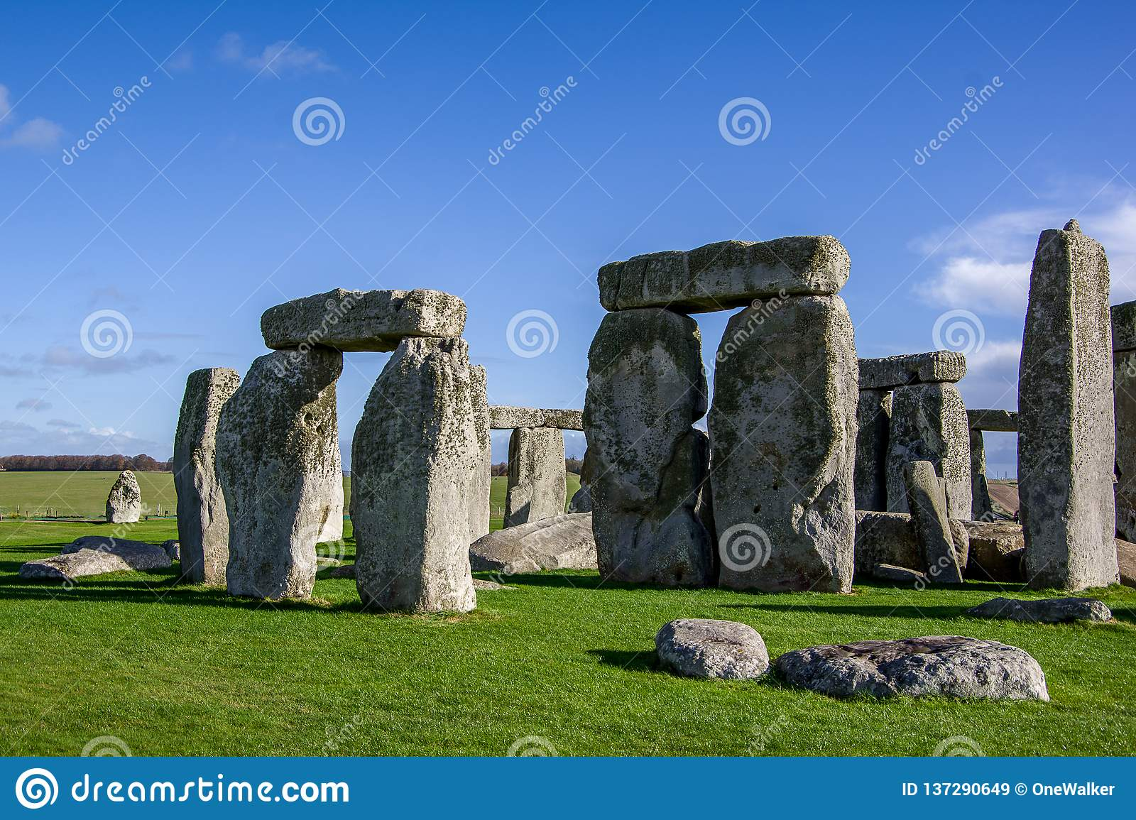 Close up view of Stonehenge monument.