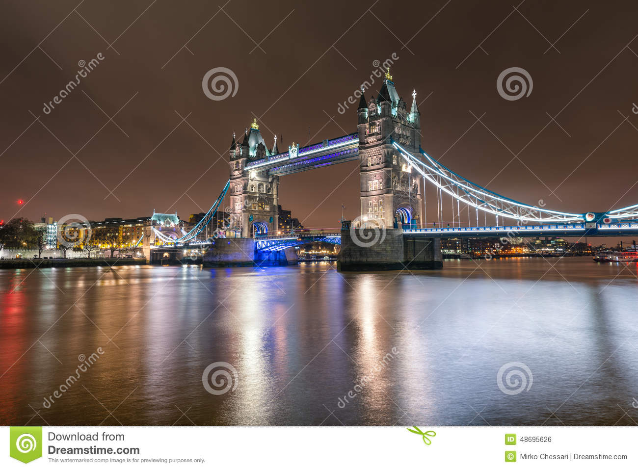 Close up view of the Tower Bridge in London