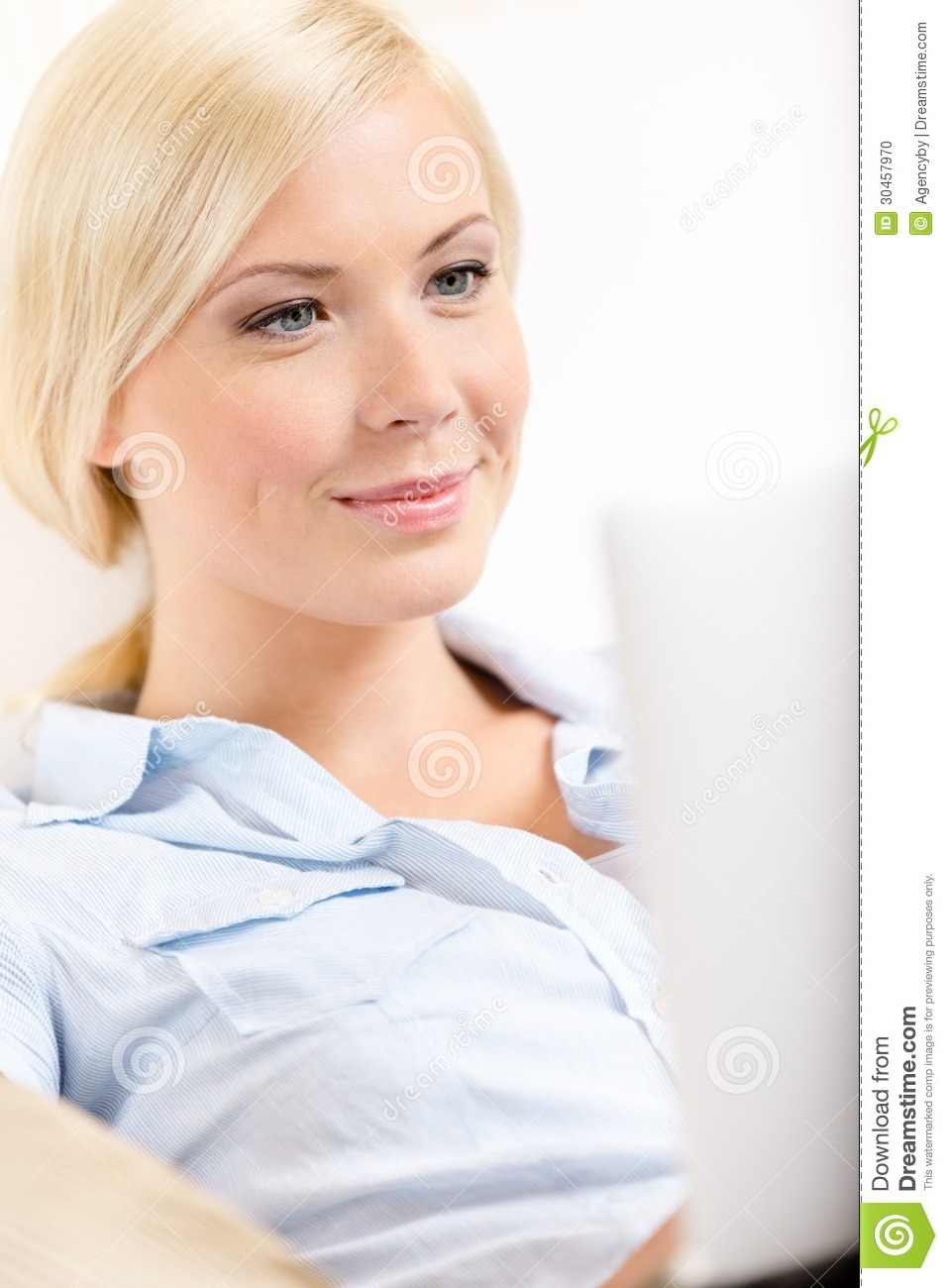 close up view of woman sitting with silver laptop stock photo image 30457970. Black Bedroom Furniture Sets. Home Design Ideas