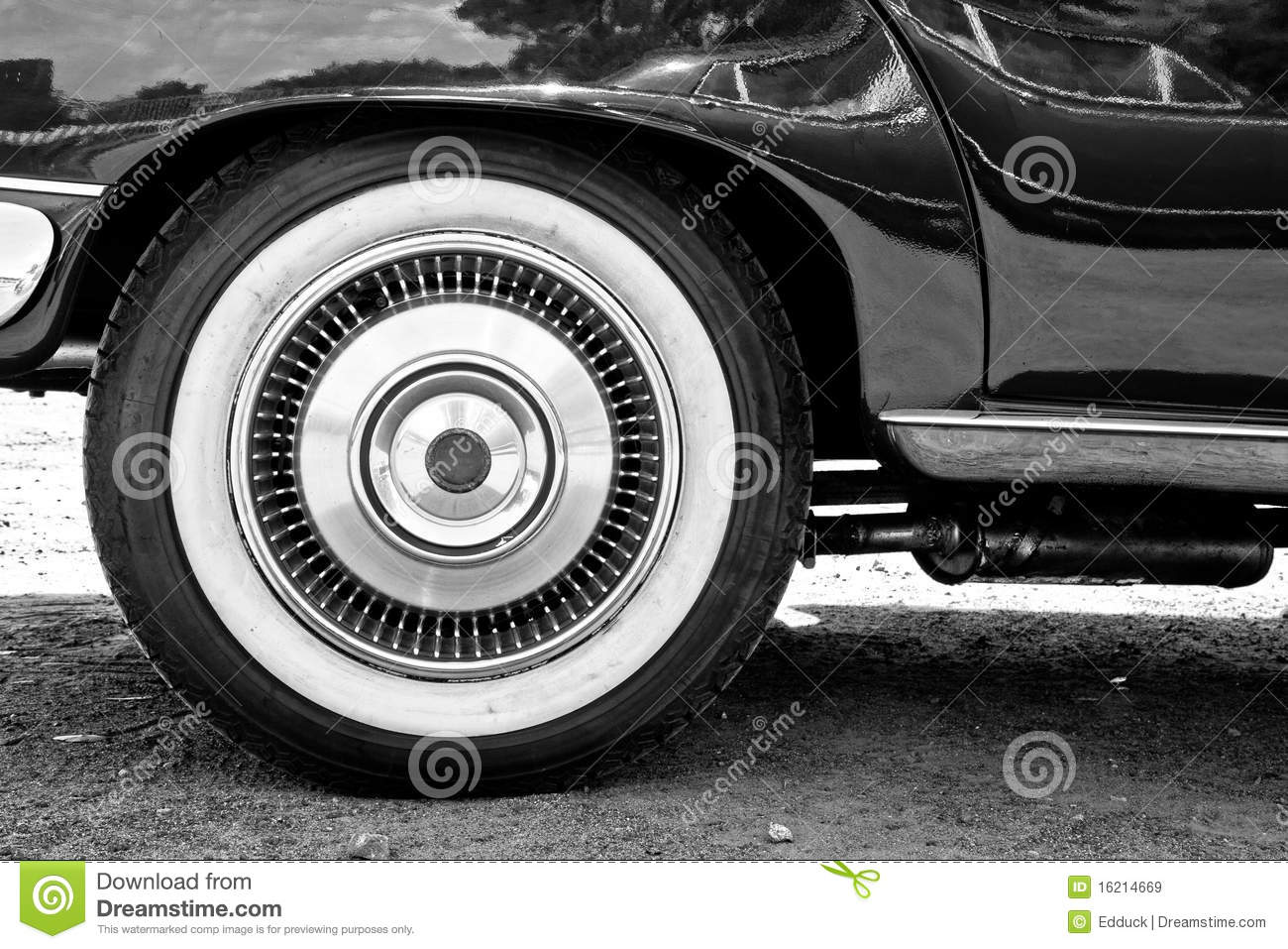 a close up of vintage cars whitewall tire royalty free stock images