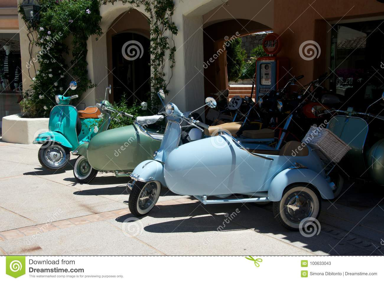 Close Up Of Vintage Motorcycle Vespa Editorial Stock Photo
