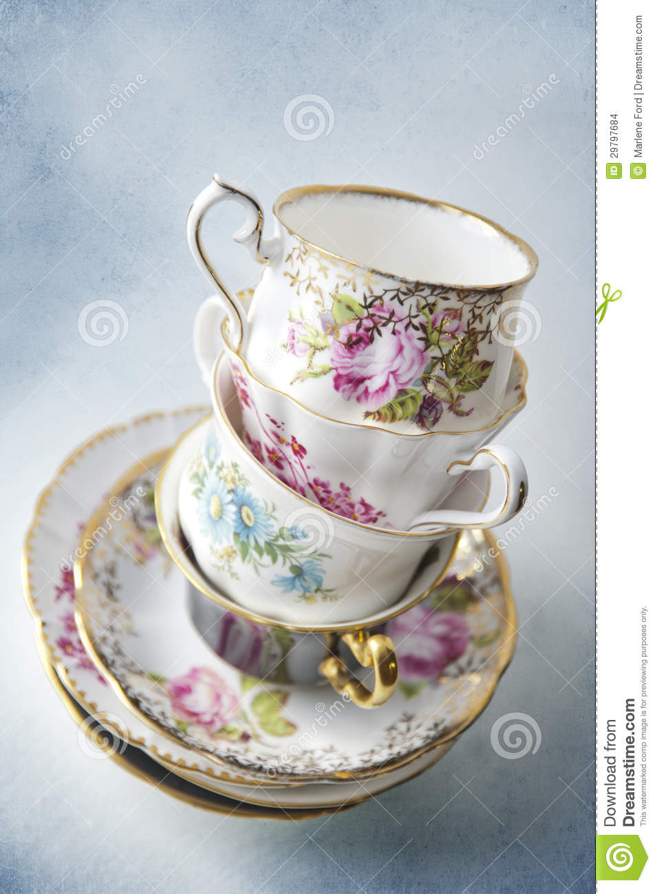 Vintage Tea Cups Stacked Up Stock Photo Image Of Still