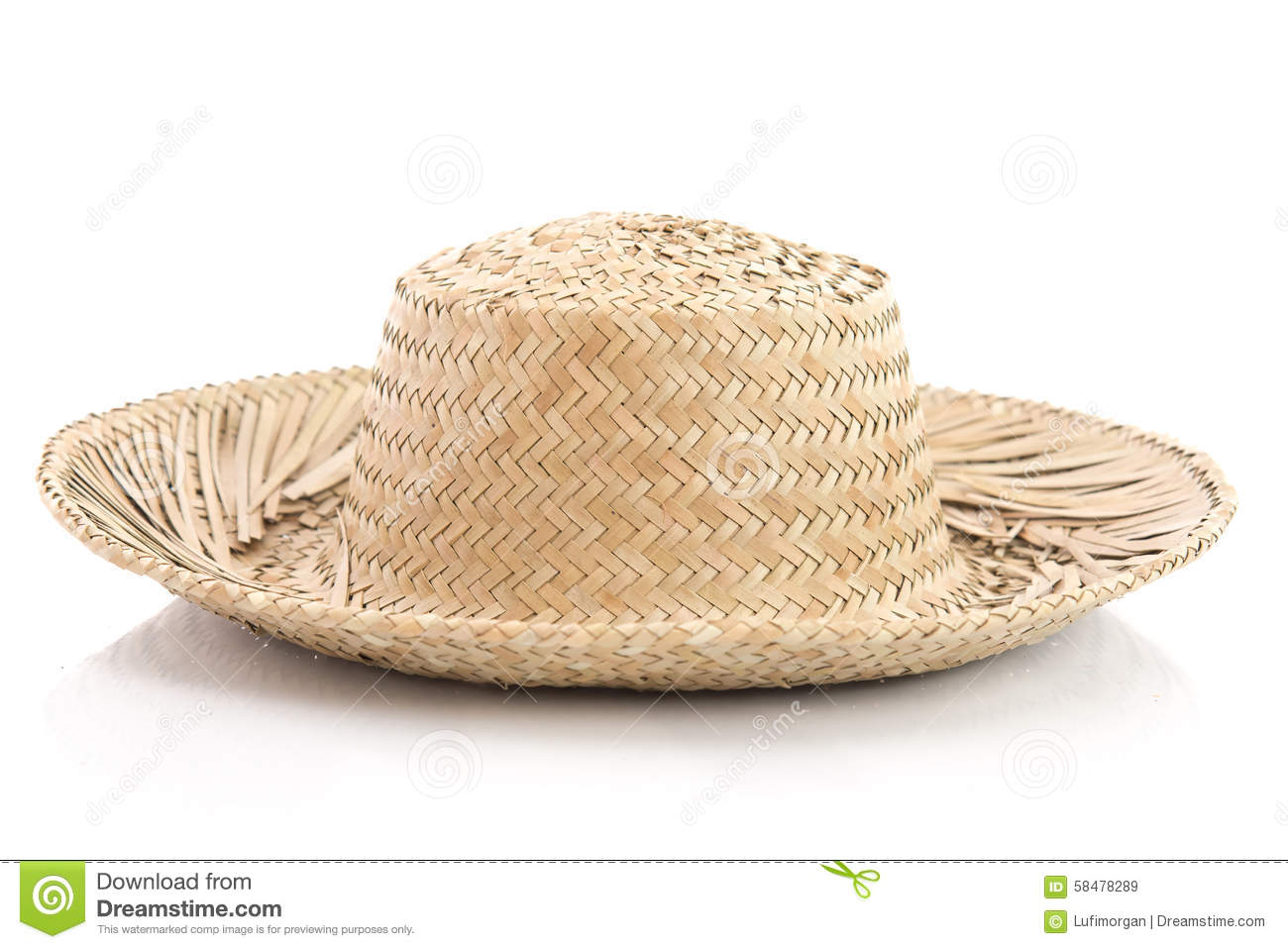 ed7b2665cd2 Close up of vintage summer straw hat isolated on white background