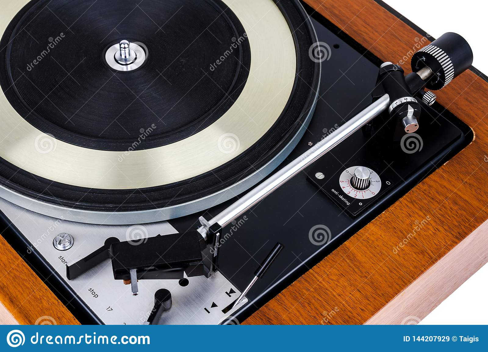 Close Up Of Vintage Turntable Vinyl Record Player On White Stock