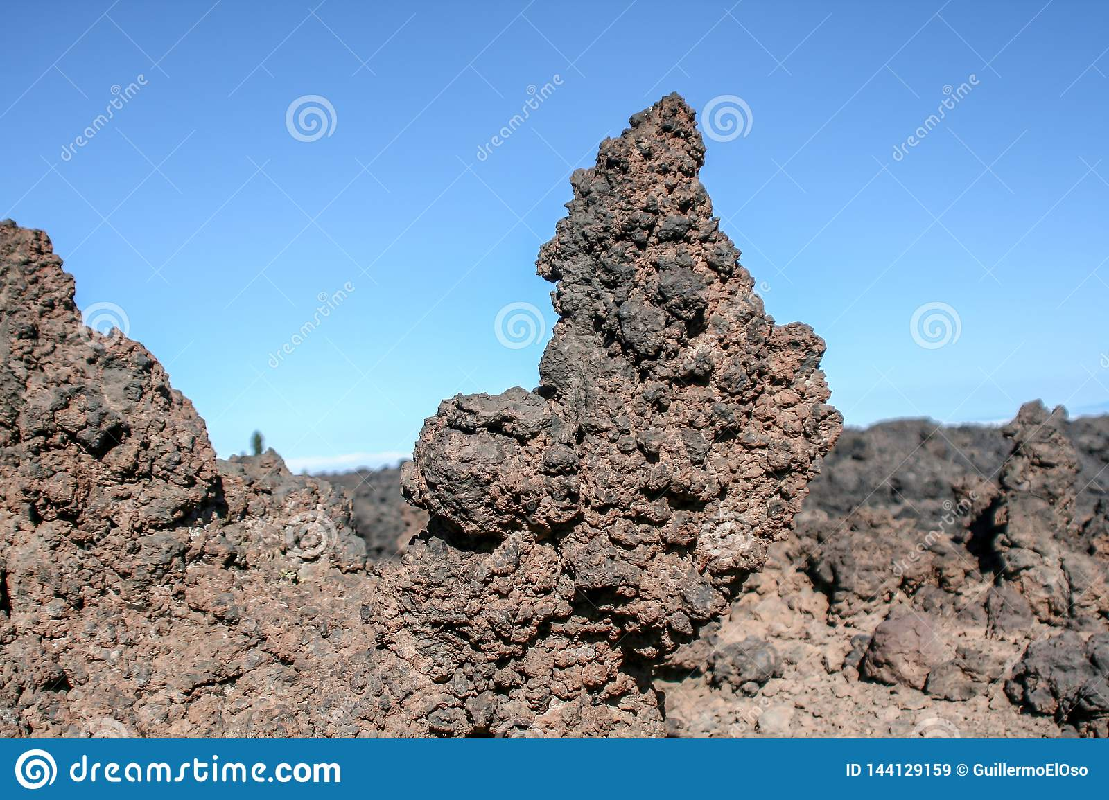 Close up of volcanic rock formations
