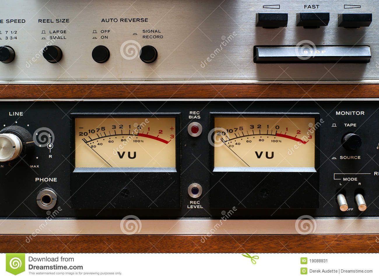 Close Up Vu Meters On Analog Tape Deck Stock Image Of How To Build Meter 4