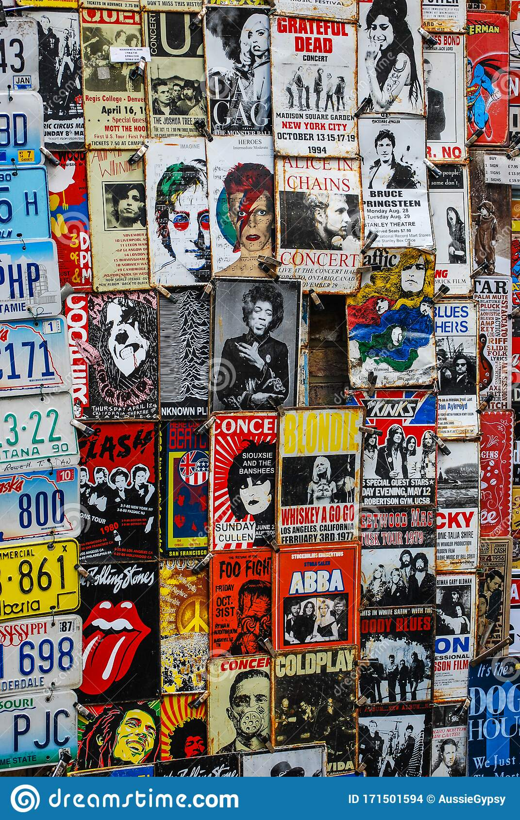 Close Up Of Wall Covered In Old Movie And Music Posters Editorial Stock Image Image Of Movie Concert 171501594