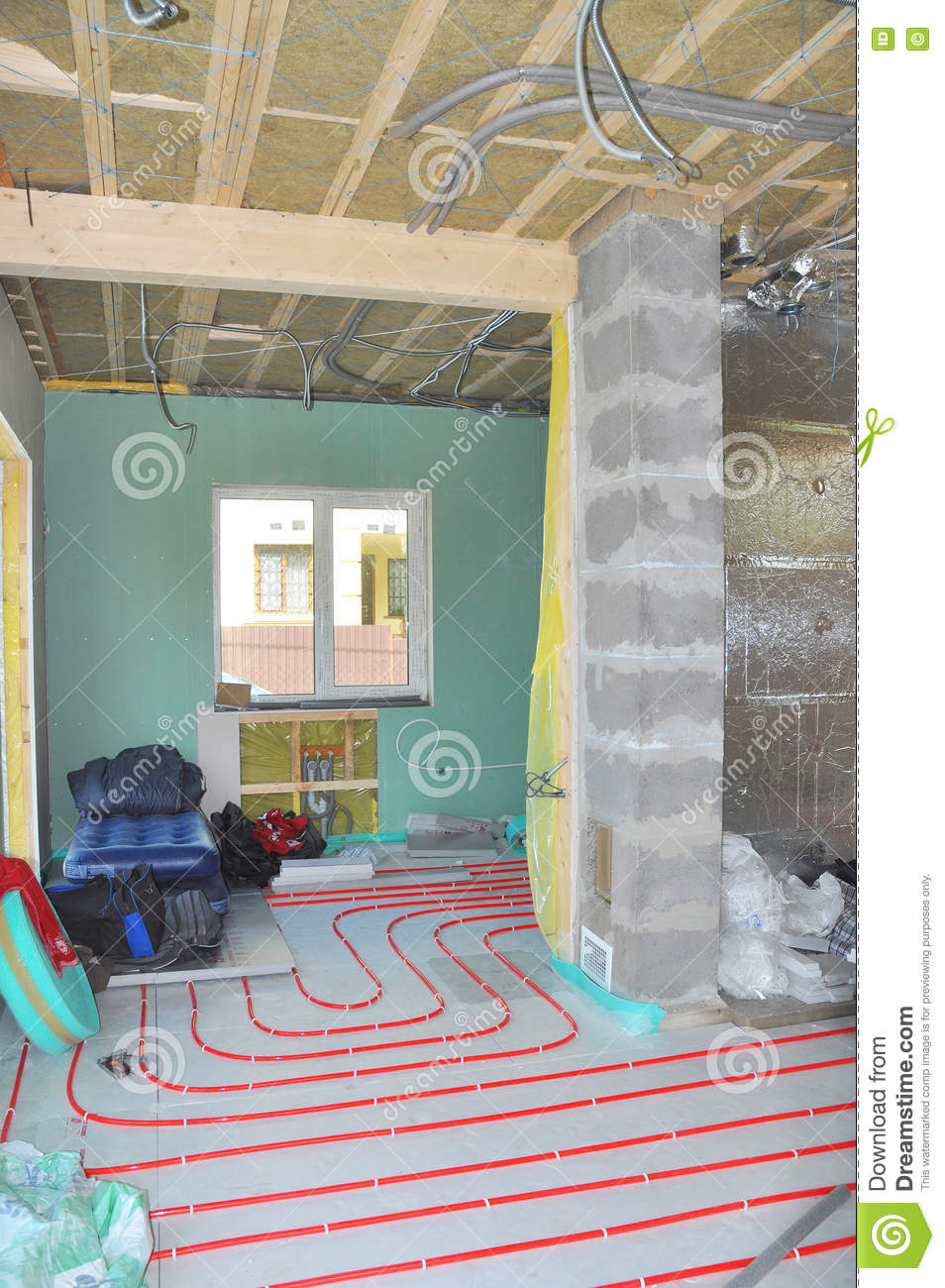 Ordinaire Close Up On Water Floor Heating System Installation, Interior Walls  Insulation And Soundproofing.