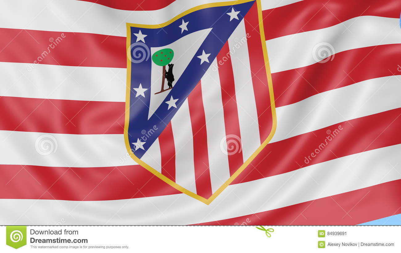 Close up of waving flag with atletico madrid football club logo close up of waving flag with atletico madrid football club logo seamless loop blue background editorial animation 4k stock video video of popular voltagebd Gallery