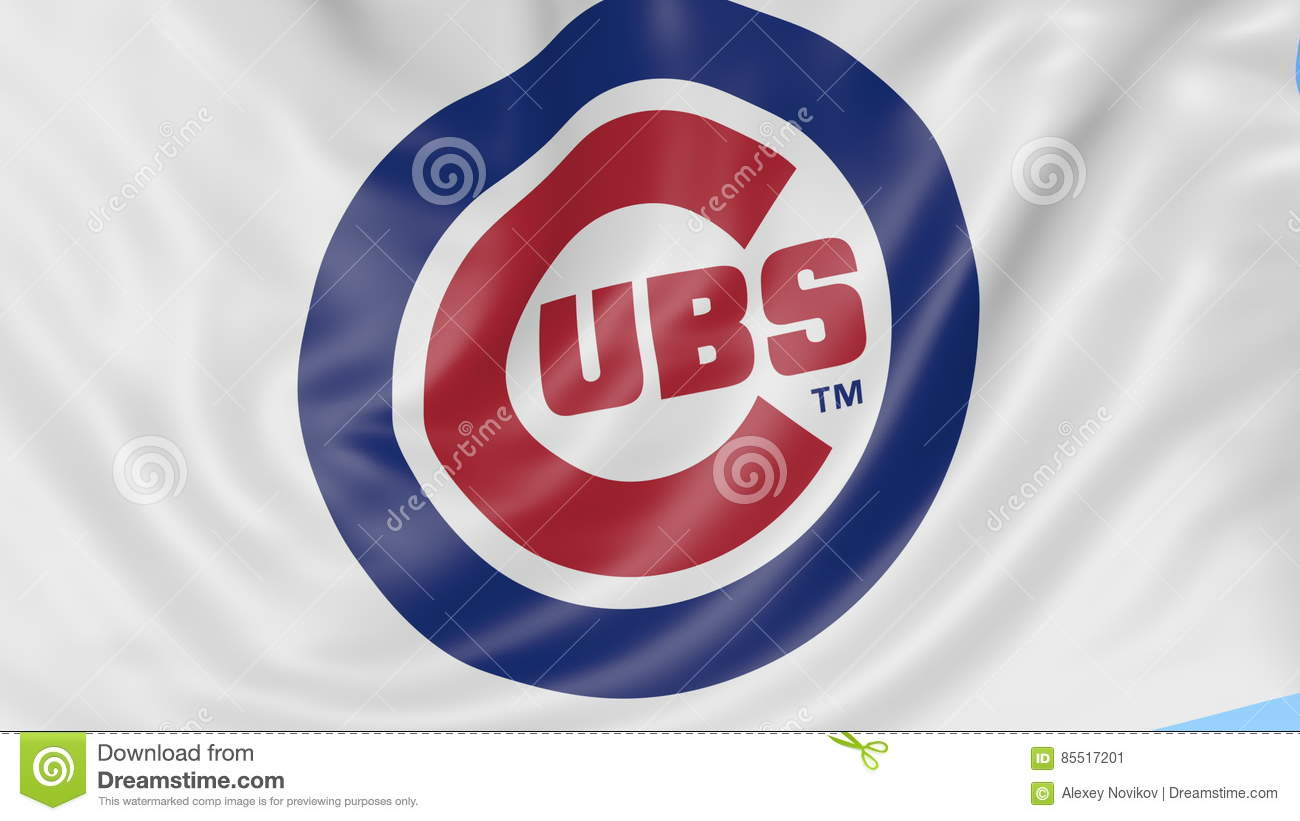 Close up of waving flag with chicago cubs mlb baseball team logo close up of waving flag with chicago cubs mlb baseball team logo seamless loop blue background editorial animation stock video video 85517201 buycottarizona