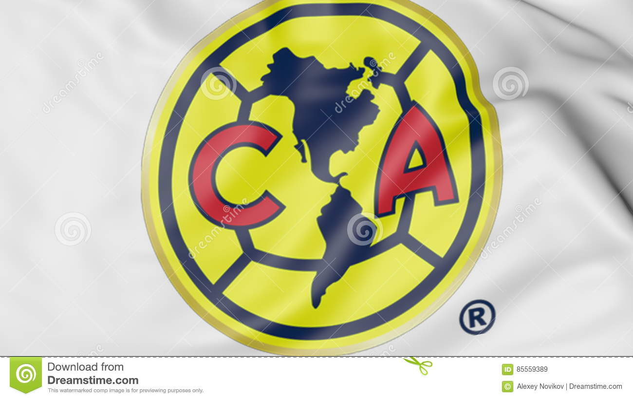 Close Up Of Waving Flag With Club America Football Team Logo 3d