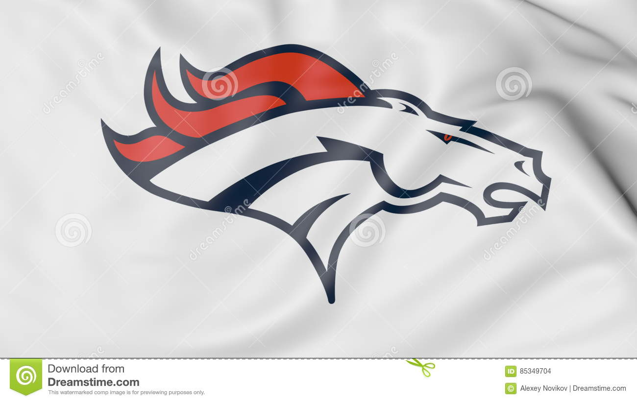 Close Up Of Waving Flag With Denver Broncos Nfl American Football