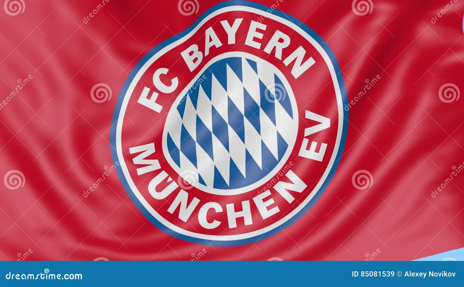 5e51f921767 Close-up Of Waving Flag With FC Bayern Munich Football Club Emblem ...