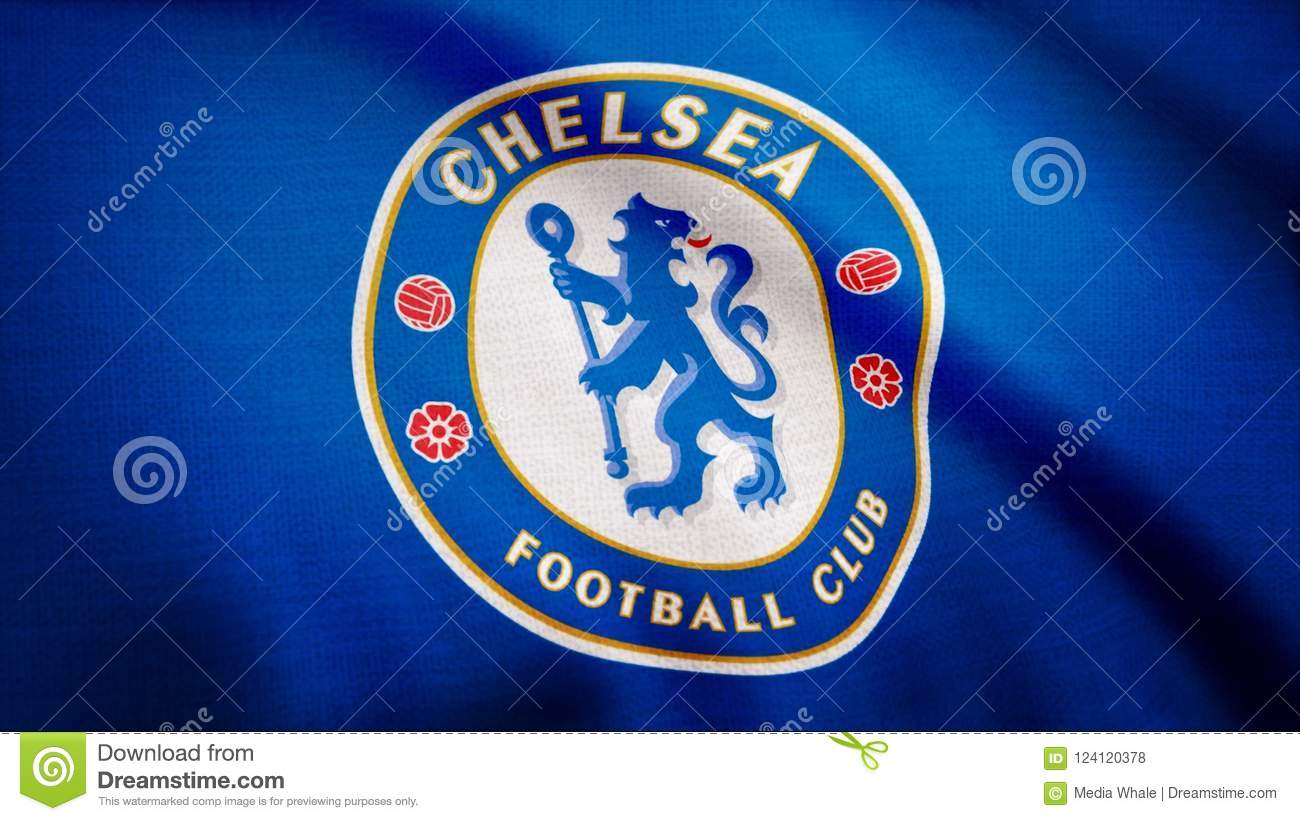Close Up Of Waving Flag With Fc Chelsea Football Club Logo
