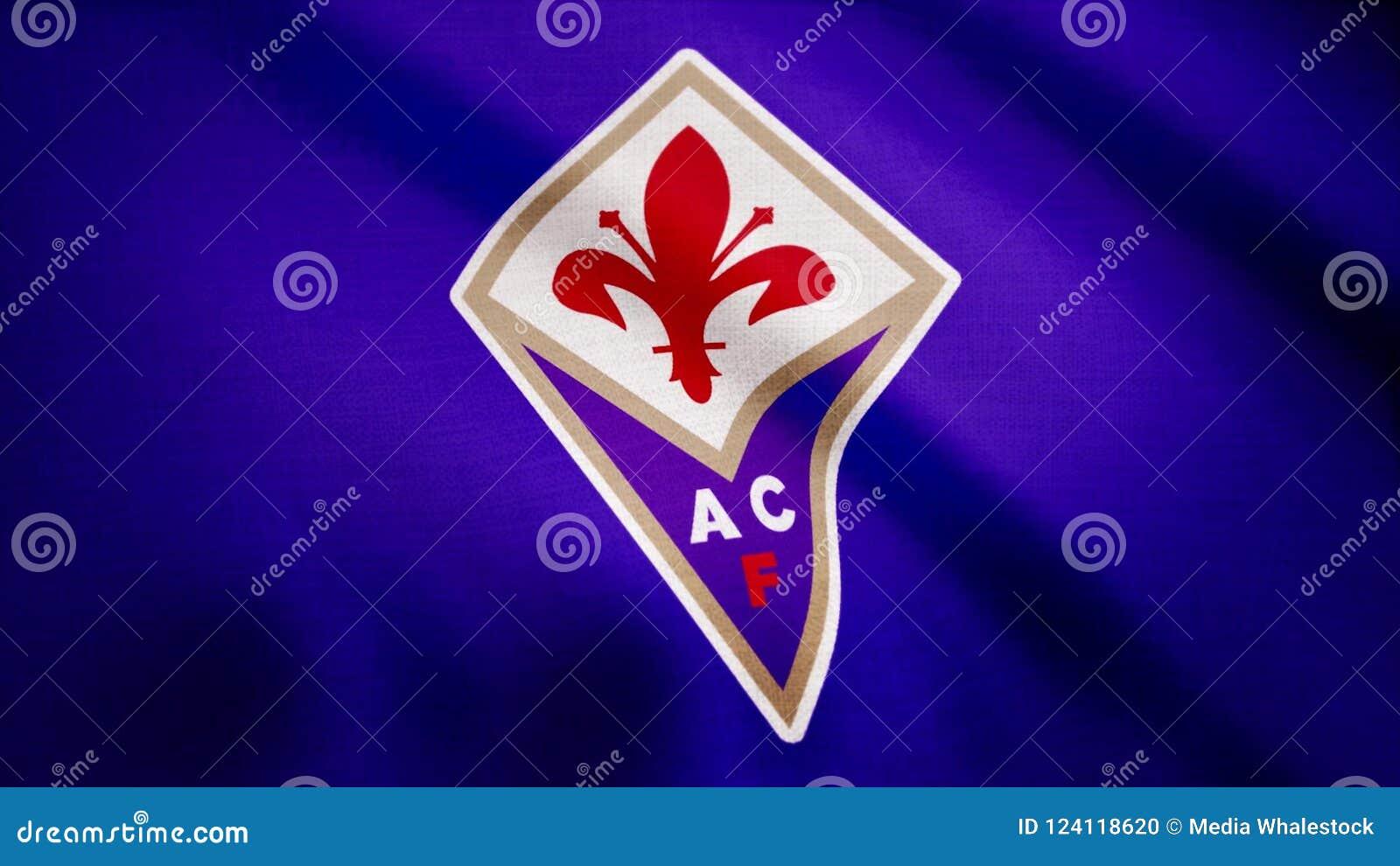d077fed95c6 Close-up Of Waving Flag With FC Fiorentina Football Club Logo ...