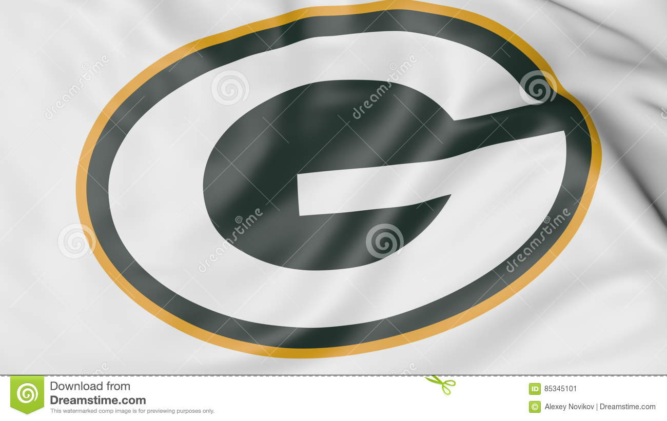 Close Up Of Waving Flag With Green Bay Packers Nfl American Football
