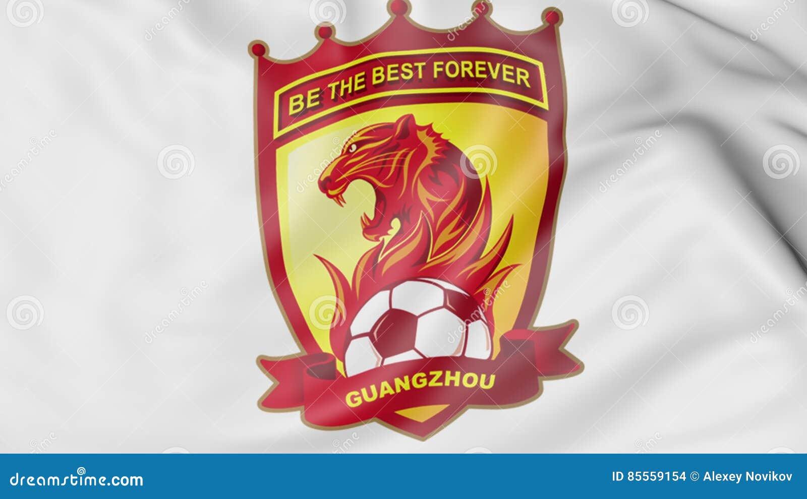 Close Up Of Waving Flag With Guangzhou Evergrande Taobao Fc Football