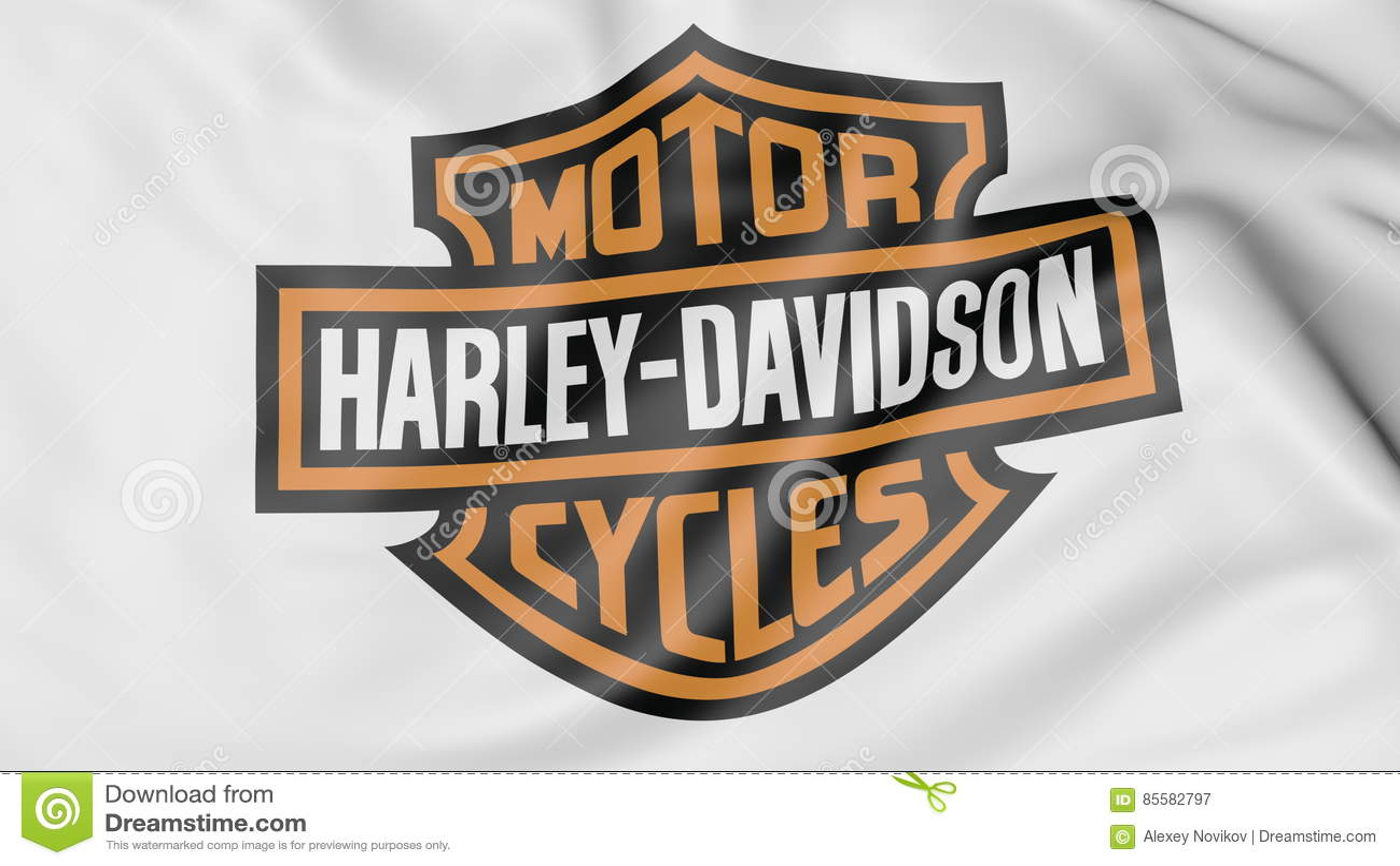 close up of waving flag with harley davidson inc logo editorial
