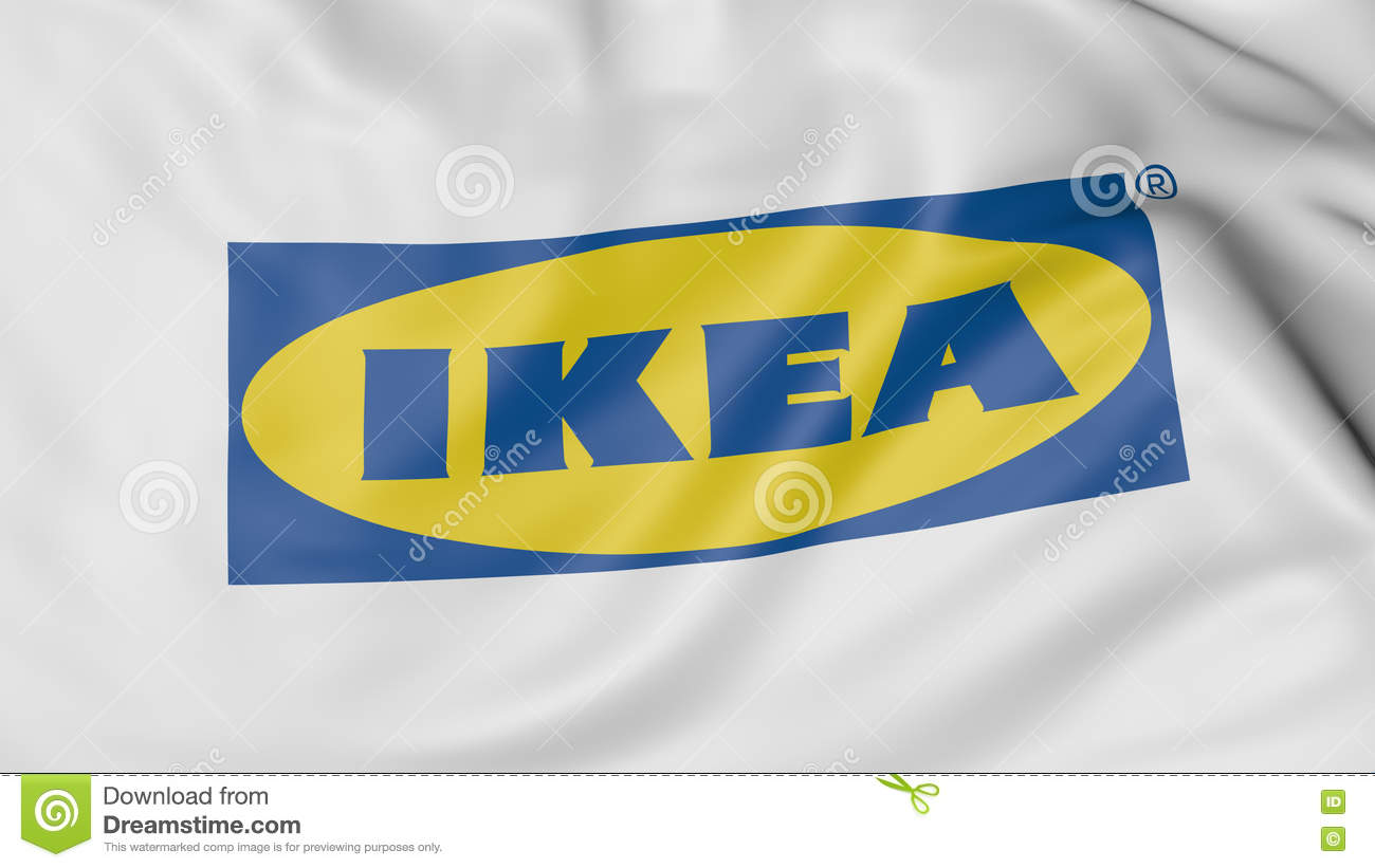 Close up of waving flag with ikea logo 3d rendering for What time does ikea close