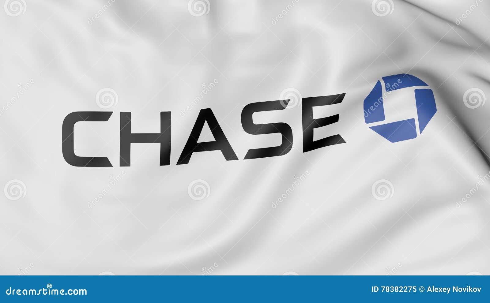 Close Up Of Waving Flag With JPMorgan Chase Bank Logo, 3D