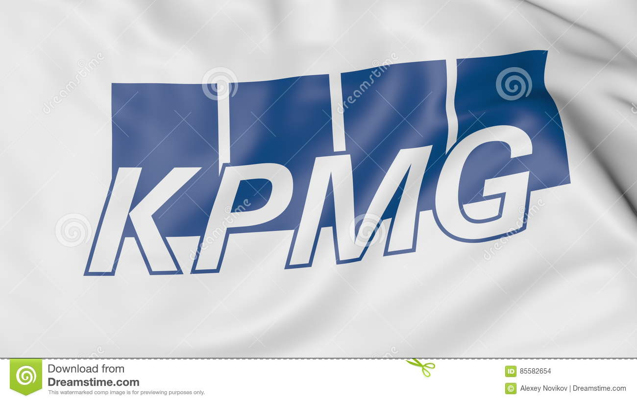 Close-up Of Waving Flag With KPMG Logo, Editorial 3D