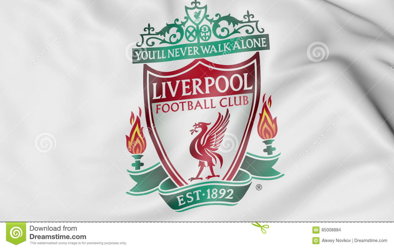 Close-up Of Waving Flag With Liverpool F.C. Football Club