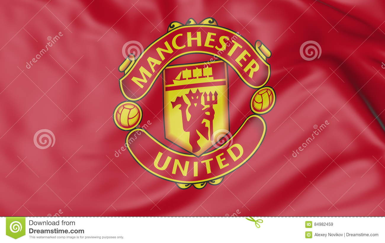 Close Up Of Waving Flag With Manchester United F C Football
