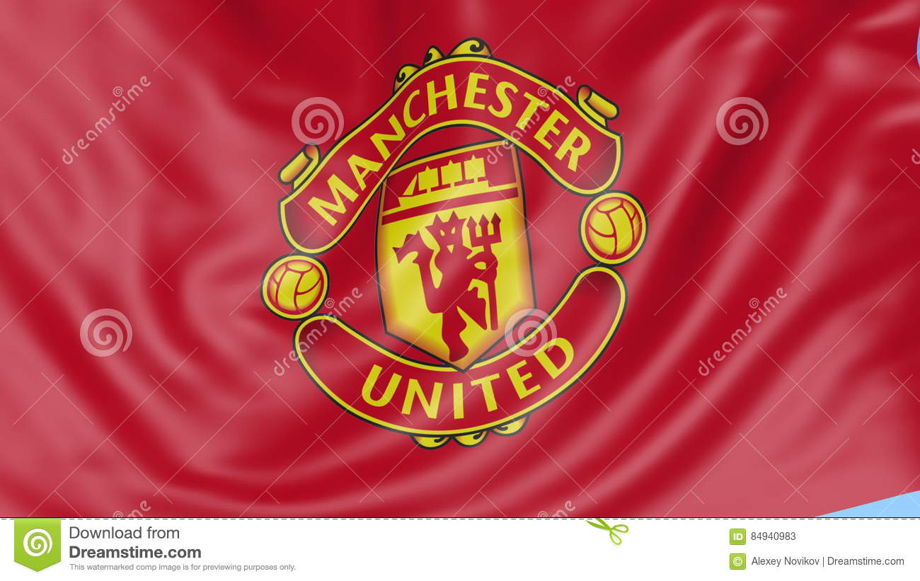 Close up of waving flag with manchester united fc football club close up of waving flag with manchester united fc football club logo seamless loop blue background editorial stock video video of goal voltagebd Image collections