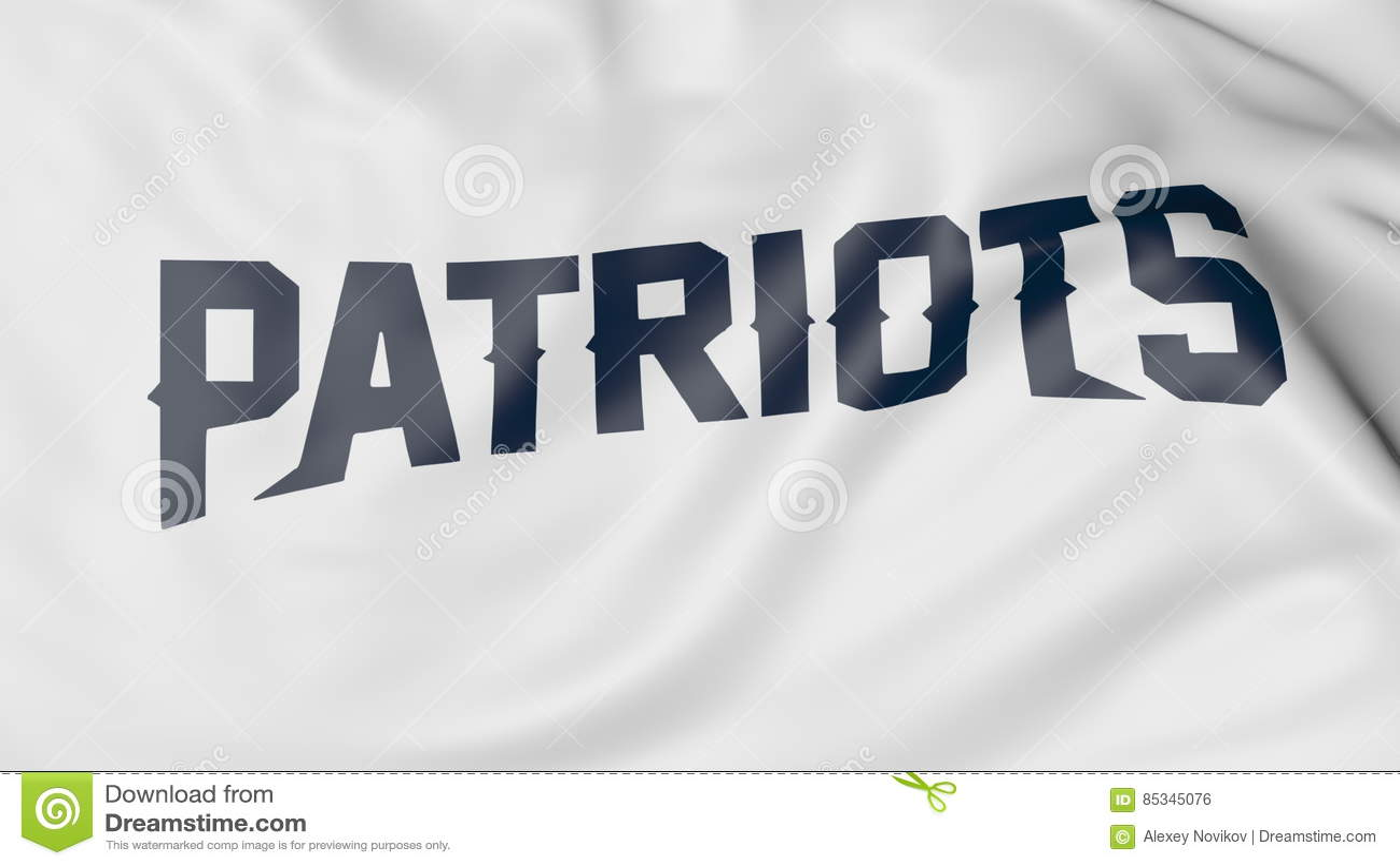Close-up of waving flag with New England Patriots NFL American football team  logo 191ebdc1377