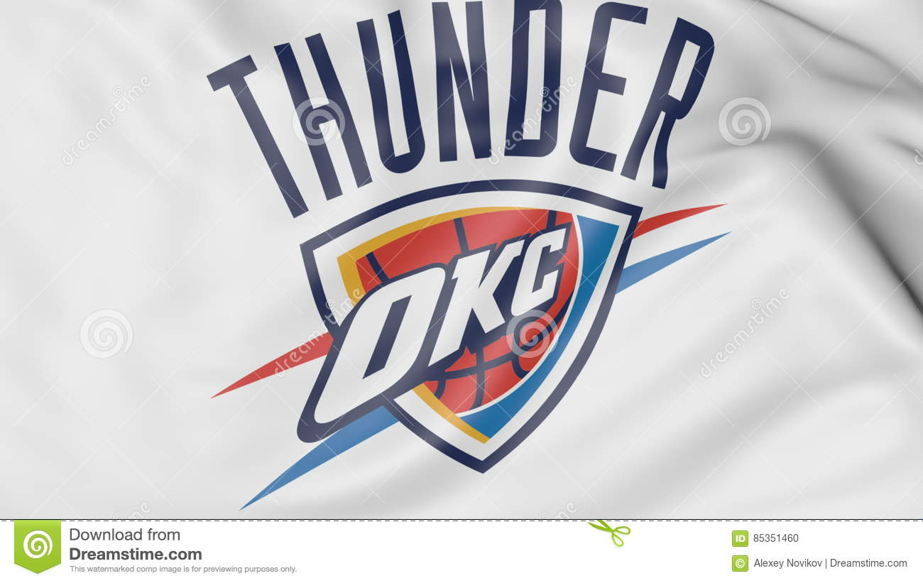 online store f627b be61a Close-up Of Waving Flag With Oklahoma City Thunder NBA ...