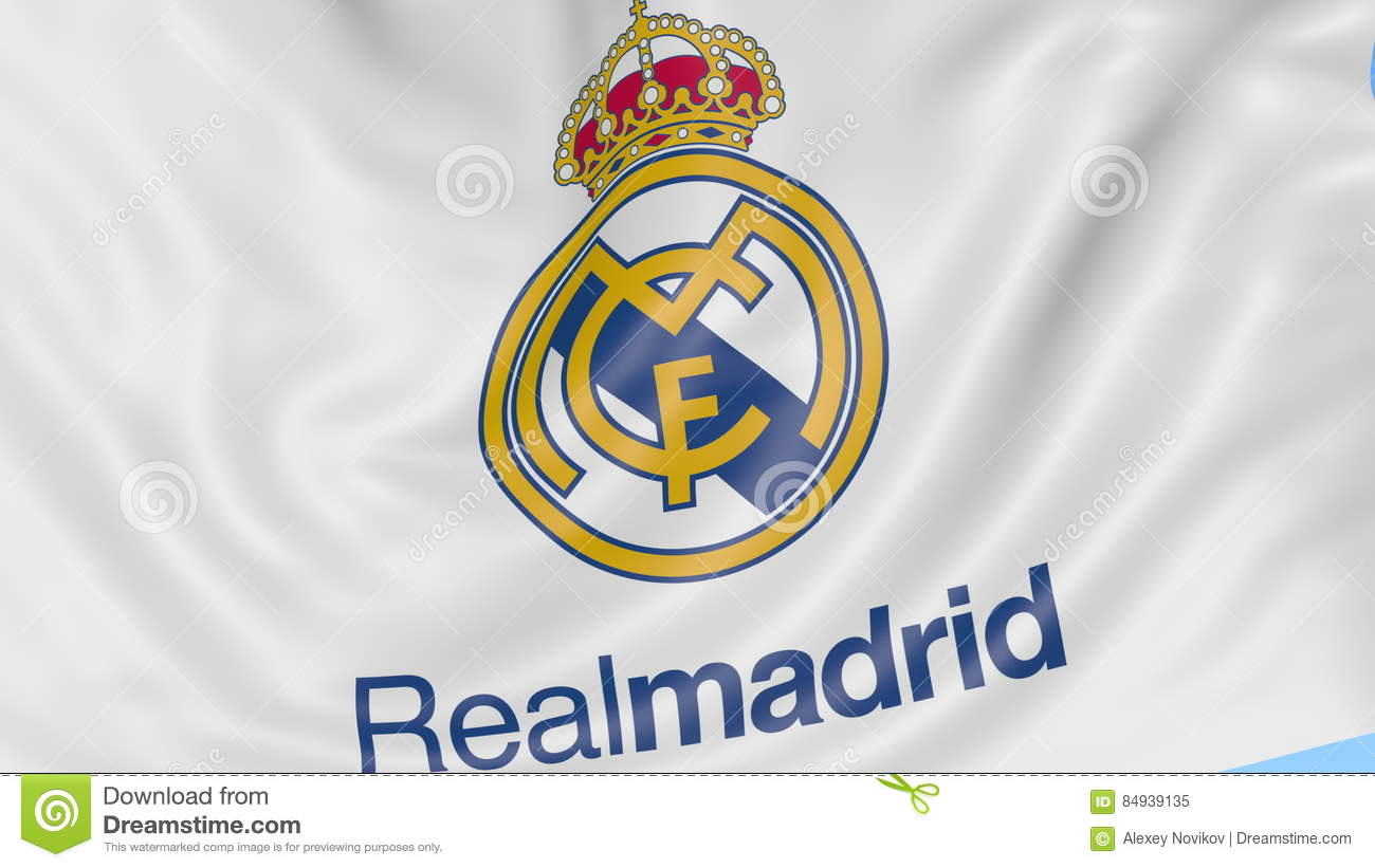 Close up of waving flag with real madrid cf football club logo close up of waving flag with real madrid cf football club logo seamless loop blue background editorial animation stock video video 84939135 voltagebd Images