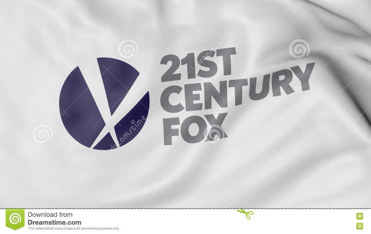Close Up Of Waving Flag With 21st Century Fox Logo, 3D