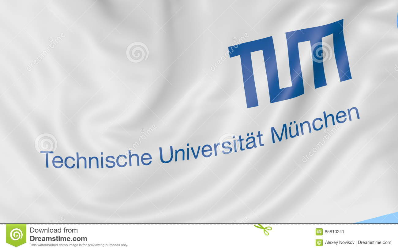 Close-up of waving flag with Technical University of Munich emblem,  seamless loop, blue background  Editorial animation