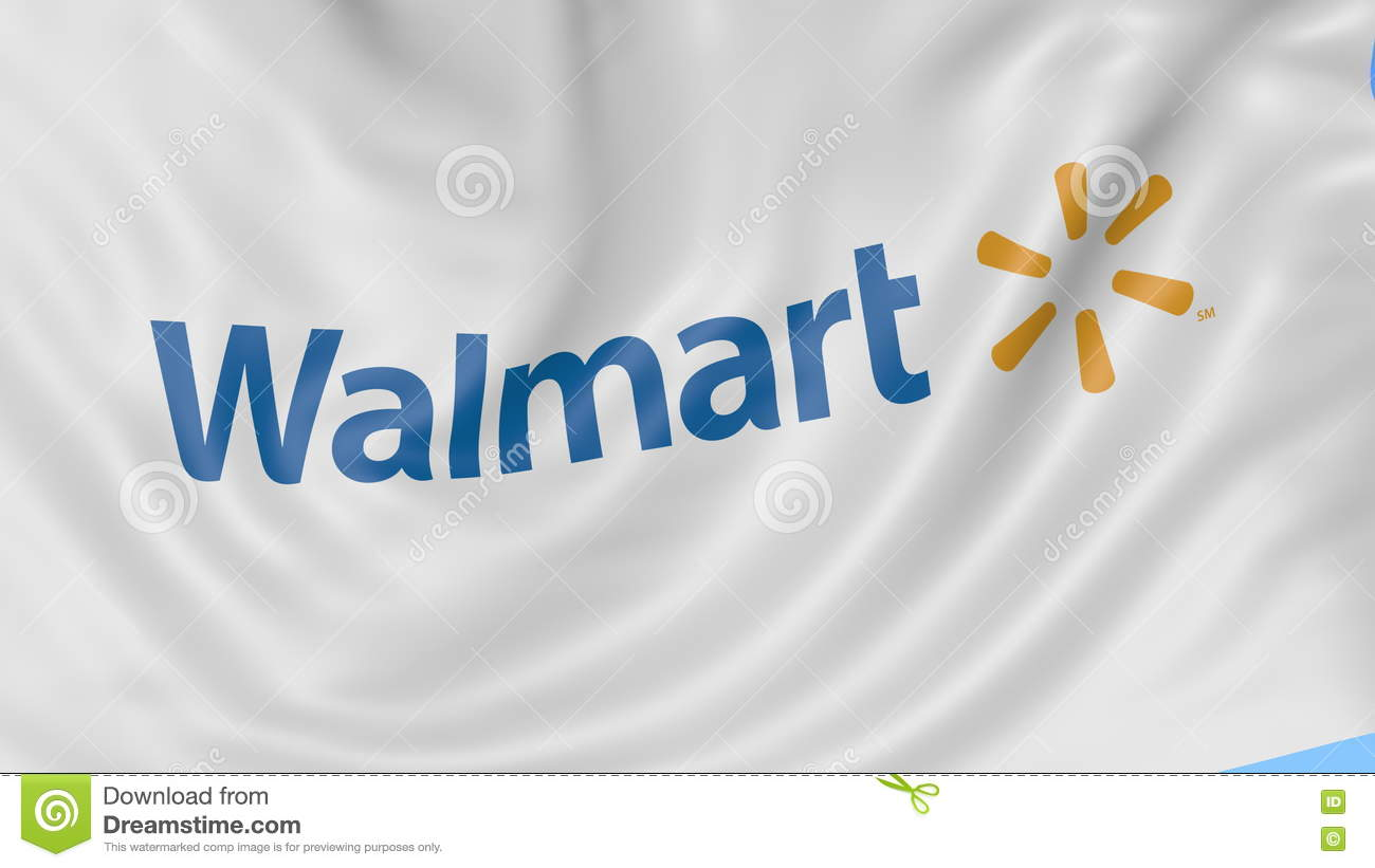 Close Up Of Waving Flag With Walmart Logo Seamless Loop Blue Background Editorial Animation 4K ProRes Alpha Stock Video