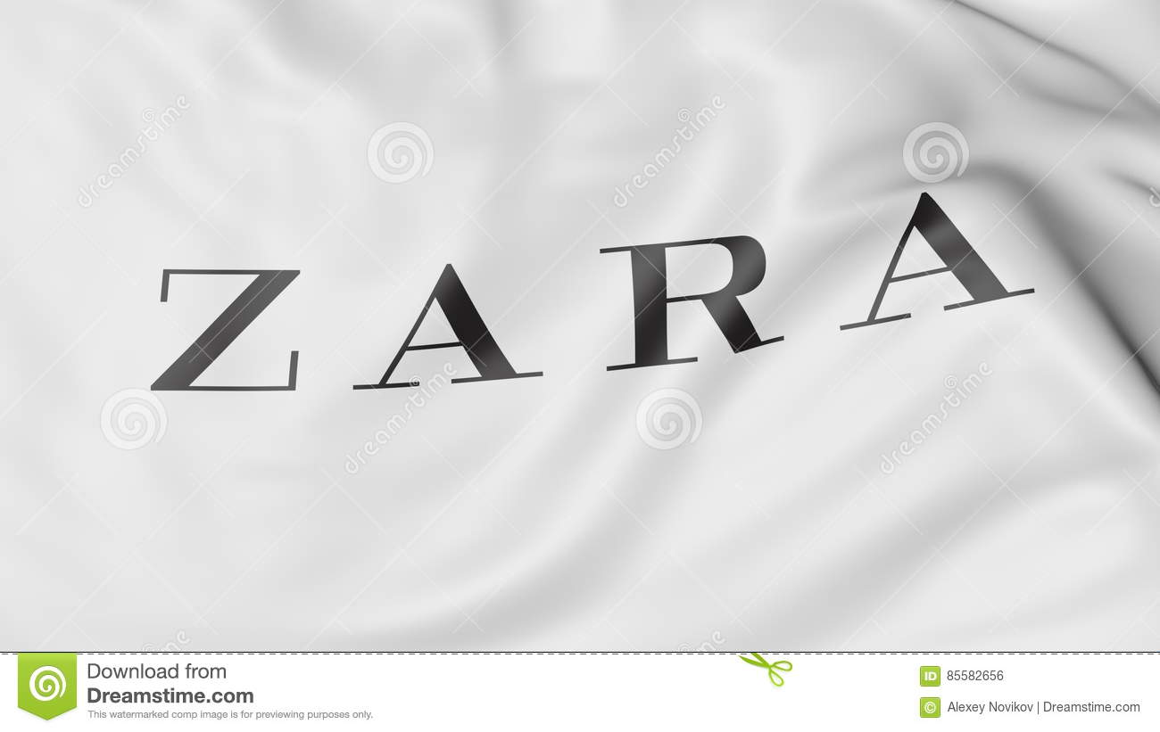 Close Up Of Waving Flag With Zara Logo Editorial 3d Rendering